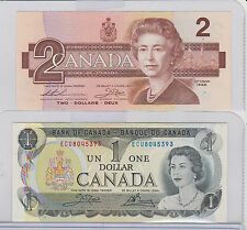 Bank Of Canada $1.00 One Dollar Bill 1973 & 1986 $2 Two Bill Both Last Issue UNC