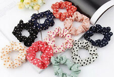 10Pc Spotty Hair Scrunchie Dotty Spotted Elastic Hairband Womens Girls Party NEW