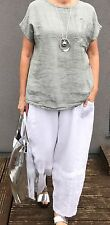 LAGENLOOK NEW ITALIAN LINEN SEQUIN PATCH TOP WASHED-OUT GREY ONE SIZE PLUS