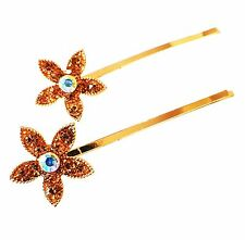 USA SELLER Bobby Pin Rhinestone Crystal Hairclip Hairpin Bridal Flower Brown A1