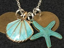 "Beach Theme Sea Shell Gold & Teal Starfish Charm Tibetan Silver 18"" Necklace B20"