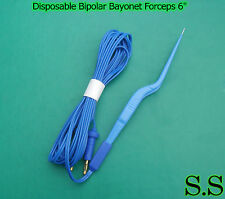 "Disposable Bipolar Bayonet Forceps 6"" Electrosurgical Instruments, EL-034"