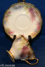 Royal Albert China Teacup & Saucer Duo ☆ Colorful With Strong Gold Gilt & Spray