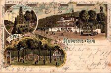 LITHO GRUSS AUS DÜSSELDORF RHEIN RATH RESTAURANT HUBERTUS HAIN 3BILD 1899