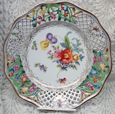 DRESDEN FLORAL PATTERN RETICULATED LUNCHEON PLATE CIRCA 1900