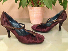 Ladies Bronx vintage brown crushed velvet t-bar Mary Jane court shoes UK 5 EU 38