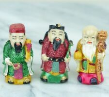 """3 Lucky Gods - Fu Lu Shou - Full Color Chinese Figurine - Set of 3 - 2""""H New"""