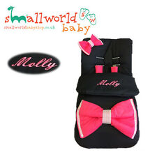 Personalised Black With Extra Large Cerise Bling Bow Footmuff Cosytoes