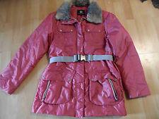 BOGNER Jeans schimmernde Winterjacke Gürtel Fellragen rosarot Gr. 38 NEU ZC216