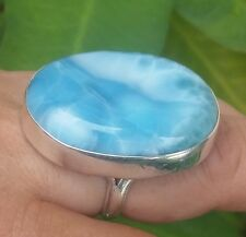 fine jewelry BIG blue LARIMAR 925 sterling silver RING size 8.5 (AAA-32)