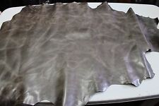 Italian thick Goatskin leather skin skins hide VINTAGE SILVER TAUPE BROWN 9+sqf