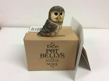 Owl Pot Bellys Trinket Box - BARRED  Owl - Hidden Compartment Hand Painted