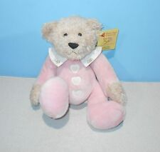 """12"""" DAKIN Baby Hugs Pink Cancer Applause #17563 Embroidered Heart Buttons Plush"""