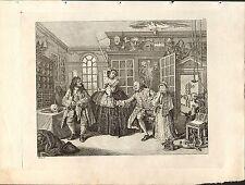 1818 Grabado Cobre Hogarth georgiano ~ la visita al médico Cuac
