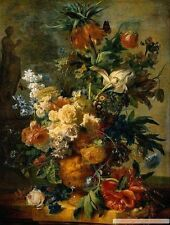 Stunning oil painting Jan van Huysum - A Still Life With flowers on canvas 36""