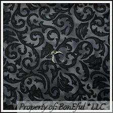 BonEful Fabric FQ Cotton Quilt Black Gray Scroll Swirl Ironwork Paisley S Calico