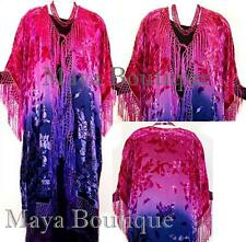 Hand Dyed Kimono Fringe Jacket Duster Silk Burnout Velvet Magenta Purple & Navy