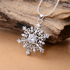 Merry Christmas Silver Hollow Tracery CZ Snowflake Pendant Jewelry