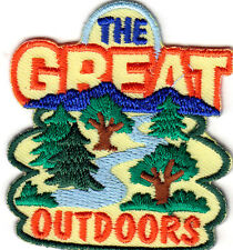 """THE GREAT OUTDOORS""- IRON ON EMBROIDERED PATCH - SPORTS-HIKING-RUNNING-CYCLING"