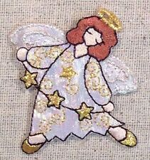 Iron On Embroidered Applique Christmas Angel with White Robe Halo Three Stars