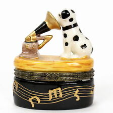 Dalmatian Dog His Masters Voice RCA Porcelain Trinket Box Records Ceramic