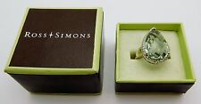 ROSS SIMONS Solid 14k White Gold / Diamonds / Large Peridot Ladies Ring & Box
