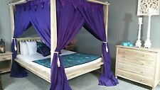 Purple Mosquito Net Four Poster Bed Canopy Curtain Net Queen Size 155cm x 205cm