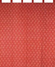 "Block Print Curtain Drape Panel Cotton 44"" x 63"" Coral Red"