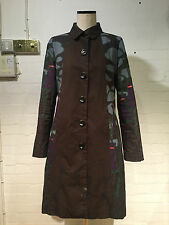CUSTO BARCELONA BROWN FLORAL SIXTIES INSPIRED PRINT COAT - SIZE EU 42 UK 14 - VR