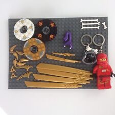 LEGO -  Ninjago Lot - Pythor Head - LED Keychain - Pearl Gold Weapons - Spinners