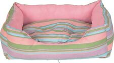 Pink Striped Canvas Dog Bed, Cushion, Mattress, Pillow,  Crate, 50 cm x 40 cm