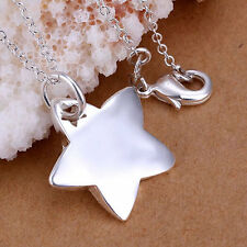 Heavy Chunky 925 Sterling Silver Plated Star Pendant & Necklace.45cm/18 inches