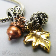 Autumn Treasures Silver Pine Cone Copper Acorn And Gold Leaf European Charm Bead