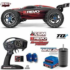 Traxxas 56086-4 1/10 E Revo Brushless Monster Truck 4WD TSM Red RTR w/ TQi