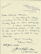 Hand Signed Letter By The First Warden Of Alcatraz Prison James A Johnson, AFTAL
