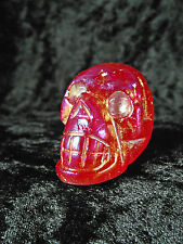 Ruby Red Rainbow Aura Quartz Crystal Skull Gold Unusual Gift Xmas Wicca 58g