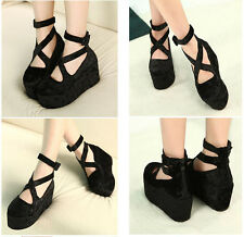 Stylish Womens Harajuku velvet high platform lace up shoes cute Muffin boots New