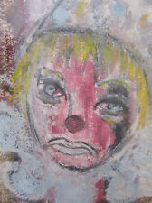 Mid Century Original Sad Scary Clown Portrait Oil Pastel VTG Amateur Painting