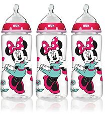 NUK Minnie Mouse 3pk Baby Girl Bottles Orthodontic Wide Neck