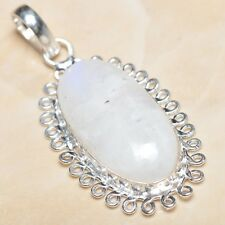 """Fire White Rainbow Moonstone Opal 925 Sterling Silver 2"""" Pendant #P06883"""