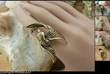 Christmas Crystal Ring Steampunk unusual gift for her womens rare 18mm US8