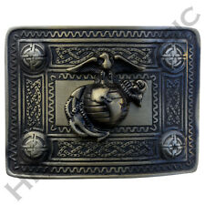 HM Scottish Kilt Belt Buckle with US Marine Brass Antique Finish Highland Buckle