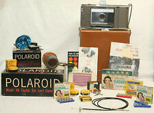 VINTAGE POLAROID ELECTRIC EYE LAND CAMERA MODEL J66, CASE, BULBS & ACCESSORIES