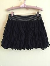 QED Black crochet frilly ruffle layered bubble hem tutu skirt size m BNWT