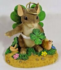 Charming Tails Figurine You're My Lucky Angel St Patrick's Day Shamrocks