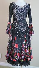 Ballroom Dance Competition Pageant Gown Smooth Black Floral Crystals Medium