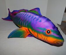 "STUFFED PLUSH TROPICAL FISH PILLOW Purple Blue Orange Green 25"" Long"