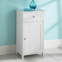 New White Wood Free Standing Cupboard with a Drawer Bathroom Furnitue Cabinet