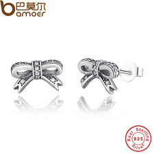 Authentic S925 Sterling Silver Sparkling Bow Stud Earrings, Clear AAA CZ Jewelry