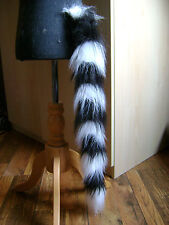 Animal Fancy Dress Tail Ring-Tailed Lemur Tail Black/White Faux Fur Fancy Dress